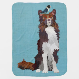 COLORFUL COLLIE & BLUE BIRD Baby Blanket