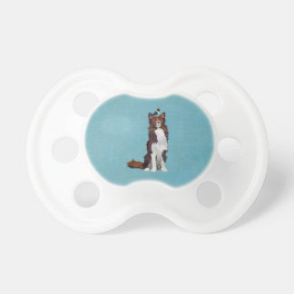 COLORFUL COLLIE & BLUE BIRD Pacifier