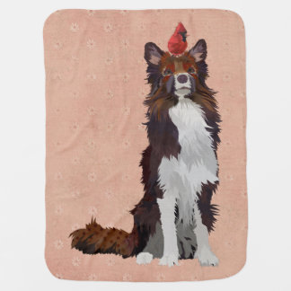 COLORFUL COLLIE & CARDINAL Baby Blanket