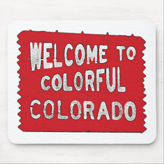 Colorful Colorado red welcome sign mousepad