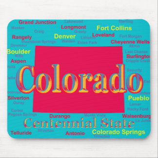Colorful Colorado State Pride Map Silhouette Mousepad