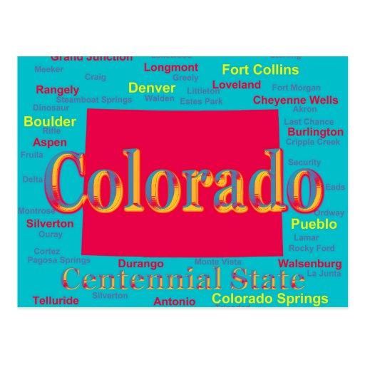 Colorful Colorado State Pride Map Silhouette Postcards