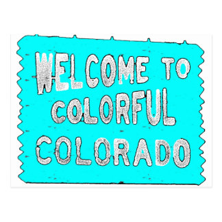Colorful Colorado teal welcome sign Postcard