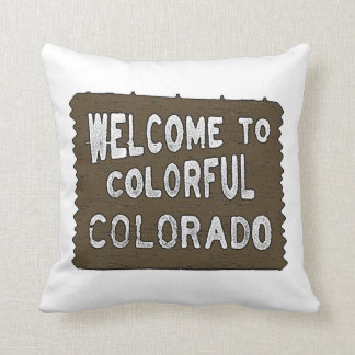 Colorful Colorado welcome sign decorative pillow