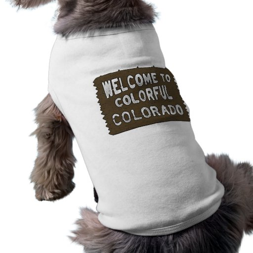 Colorful Colorado welcome sign dog shirt