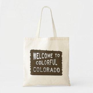Colorful Colorado welcome sign reusable bag