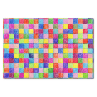 Colorful Colored Graph Paper Squares Tissue Paper