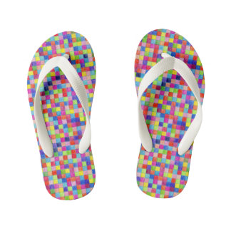 Colorful Colored In Graph Paper Squares Kid's Flip Flops