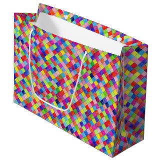 Colorful Colored In Graph Paper Squares Large Gift Bag