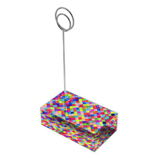 Colorful Colored In Graph Paper Squares Place Card Holder