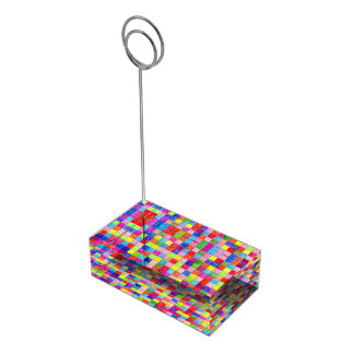 Colorful Colored In Graph Paper Squares Table Card Holder