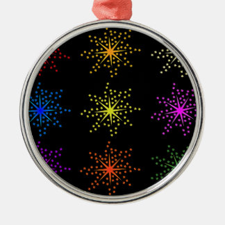 Colorful Comic Explosions Silver-Colored Round Decoration