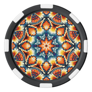 Colorful Concentric Motif Poker Chip Set