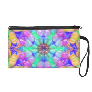 Colorful Concentric Reflections Wristlet