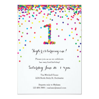 Colorful Confetti 1st Birthday Party Invitations