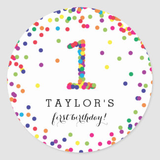 Colorful Confetti 1st Birthday Party Stickers
