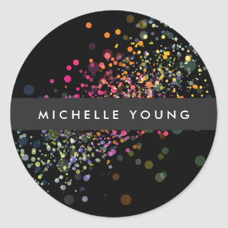 Colorful Confetti Bokeh on Black Modern Classic Round Sticker