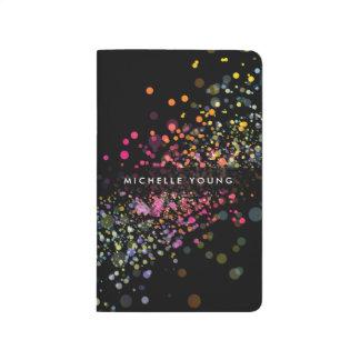 Colorful Confetti Bokeh on Black Modern II Journals