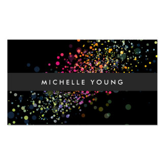 Colorful Confetti Bokeh on Black Modern Pack Of Standard Business Cards