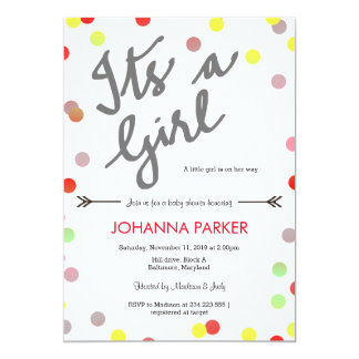 Colorful Confetti Its A Girl Baby Shower Modern Card
