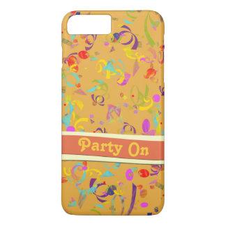 Colorful Confetti Toss Background Over Orange iPhone 8 Plus/7 Plus Case