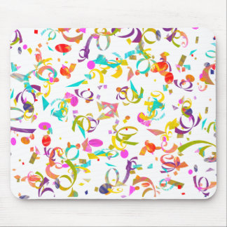 Colorful Confetti Toss Over A White Background Mouse Mat