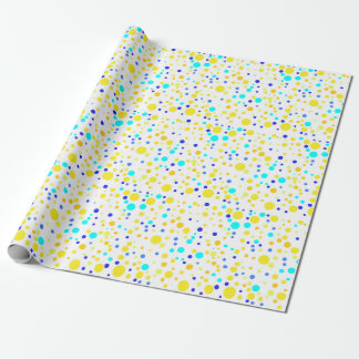 Colorful Confetti Wrapping Paper in Yellow, Blue