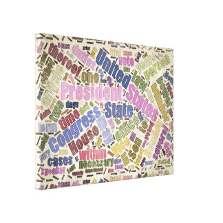 Colorful Constitution Text Graphic Gallery Wrapped Canvas