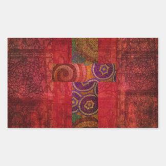 Colorful Contemporary Christian Mosaic Cross Art Rectangular Sticker