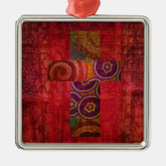 Colorful Contemporary Christian Mosaic Cross Art Silver-Colored Square Decoration