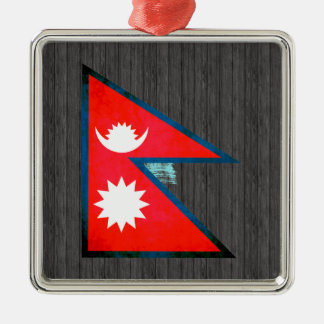 Colorful Contrast Nepalese Flag Christmas Tree Ornaments