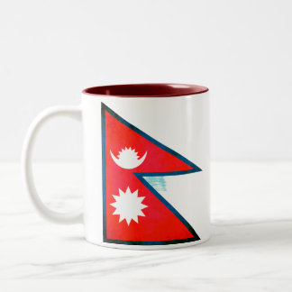 Colorful Contrast Nepalese Flag Coffee Mugs
