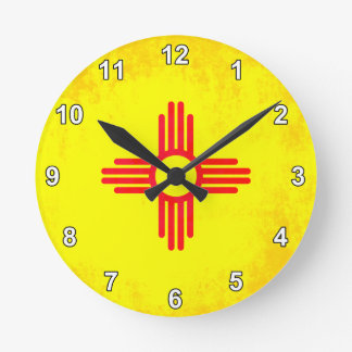 Colorful Contrast New Mexican Flag Round Clock