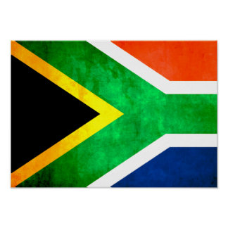 Colorful Contrast South AfricanFlag Posters