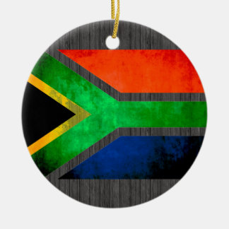 Colorful Contrast South AfricanFlag Round Ceramic Decoration