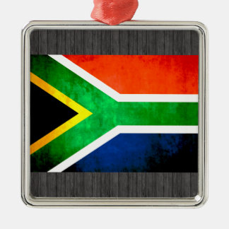 Colorful Contrast South AfricanFlag Silver-Colored Square Decoration