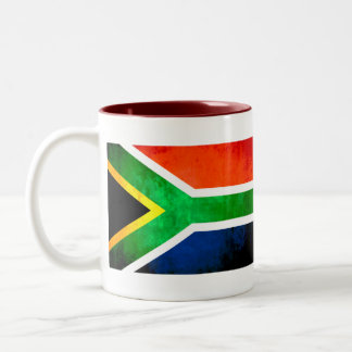 Colorful Contrast South AfricanFlag Two-Tone Mug