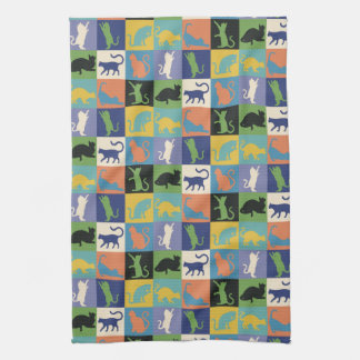 Colorful Cool Cat Silhouettes in Quilt Squares Kitchen Towel