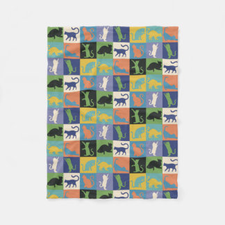 Colorful Cool Cats in Quilt-like Squares Fleece Blanket