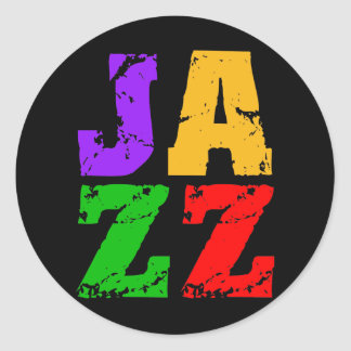 Colorful cool jazz round sticker