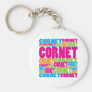 Colorful Cornet Basic Round Button Key Ring