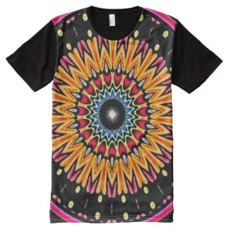 Colorful Cosmic Connection Mandala Indie Art All-Over Print T-Shirt