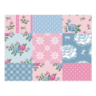 Colorful, country, chic, patch work,girly,cute,fun postcard
