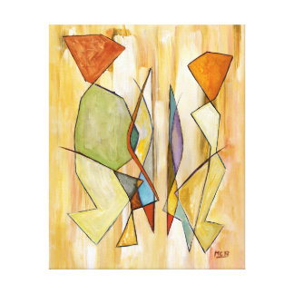 Colorful Couple Beige Orange Pastel Green Abstract Stretched Canvas Prints