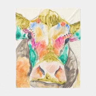 Colorful Cow Design Fleece Blanket