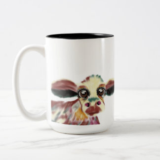 Colorful Cow With Giant Soulful Eyes Two-Tone Coffee Mug