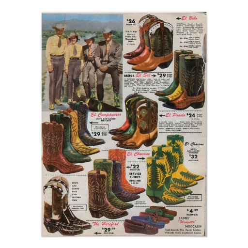 Colorful Cowboy Boots 1950s Poster
