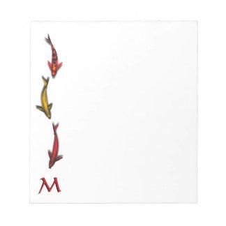 Colorful Coy Fish Monogram Note Pad