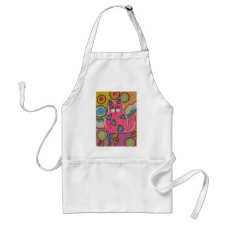 Colorful Crazy Abstract Cat design Standard Apron