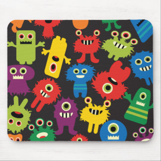 Colorful Crazy Fun Monsters Creatures Pattern Mouse Pad